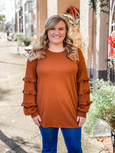Ryder Rust Bubble Sleeve Top