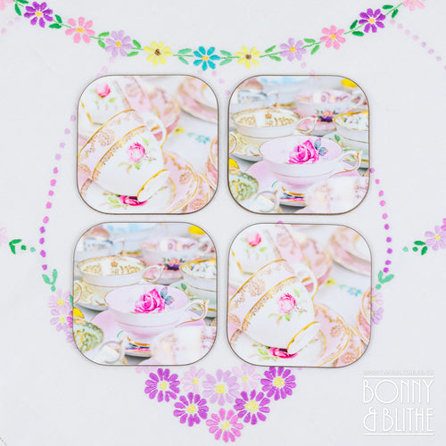 Vintage Teacups Coasters Set of 4