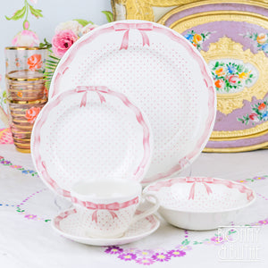 Churchill Vanity Fayre Pink Ribbon 5pc Place Setting