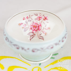 Aynsley Pink Roses Blue Sugar Bowl