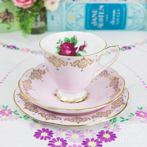 Gold Daisies Pink Teacup and Saucer