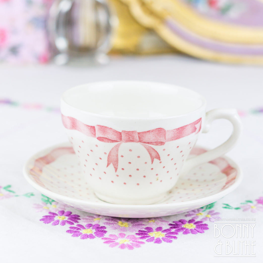 Churchill Vanity Fayre Pink Ribbon Teacup and Saucer