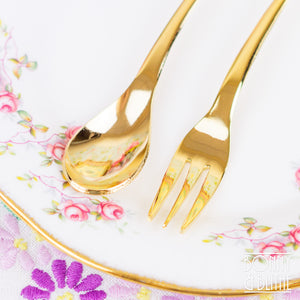 Gold Plated Heart Rose Teaspoon and Cake Fork