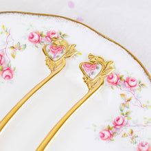 Load image into Gallery viewer, Gold Plated Heart Rose Teaspoon and Cake Fork
