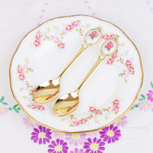 Pair of Gold Plated Rose Teaspoons