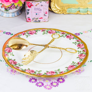 Ornate Gold Tone Serving Tongs - Oval