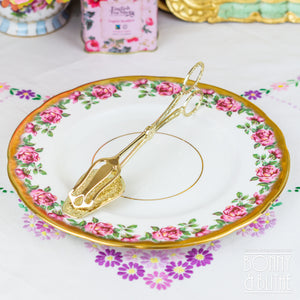 Ornate Gold Tone Serving Tongs - Tapered