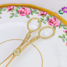 Load image into Gallery viewer, Ornate Gold Tone Serving Tongs - Tapered