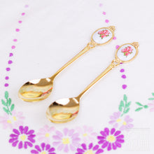 Load image into Gallery viewer, Pair of Gold Plated Rose Teaspoons