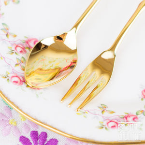 Gold Plated Autmun Leaves Teaspoon and Cake Fork
