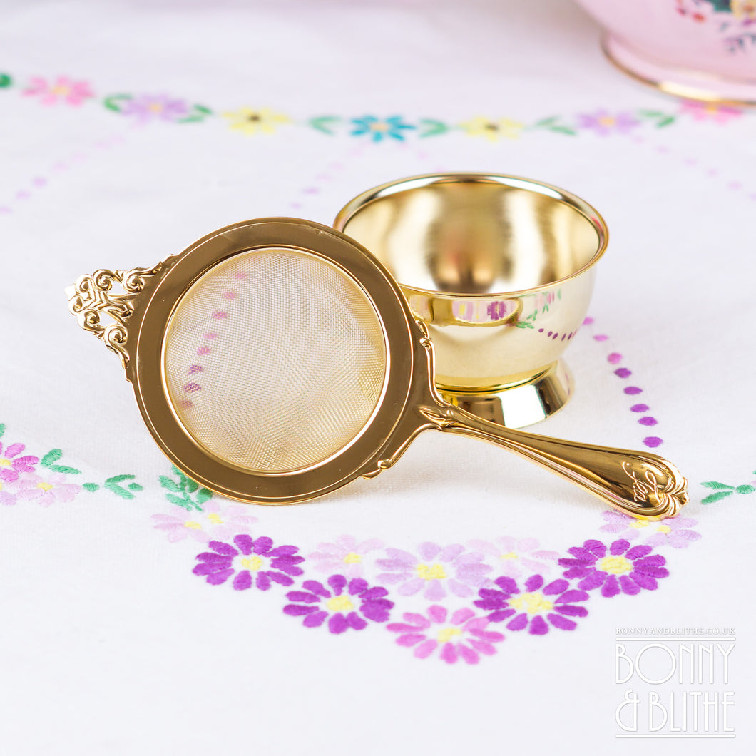 Gold Plated Long Handle Tea Strainer