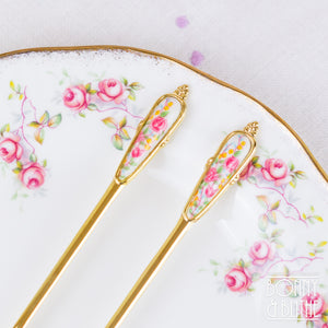 Gold Plated Floral Teaspoon and Cake Fork