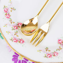 Load image into Gallery viewer, Gold Plated Floral Teaspoon and Cake Fork