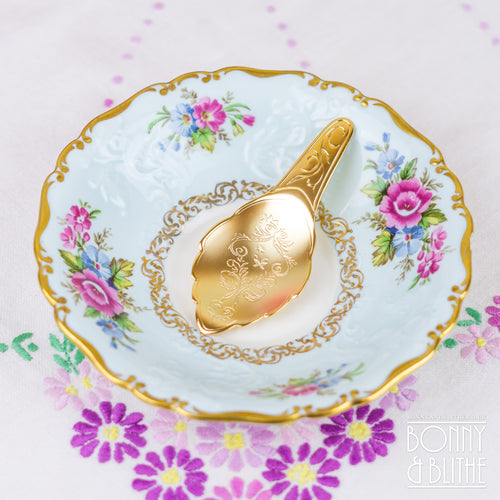 Engraved Gold Plated Tea Caddy Spoon