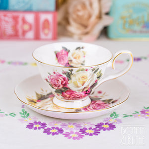 Cabbage Roses Vintage Style Teacup and Saucer