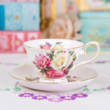 Load image into Gallery viewer, Cabbage Roses Vintage Style Teacup and Saucer