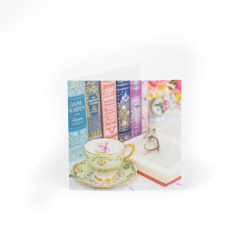 Notecards Teacup and Books