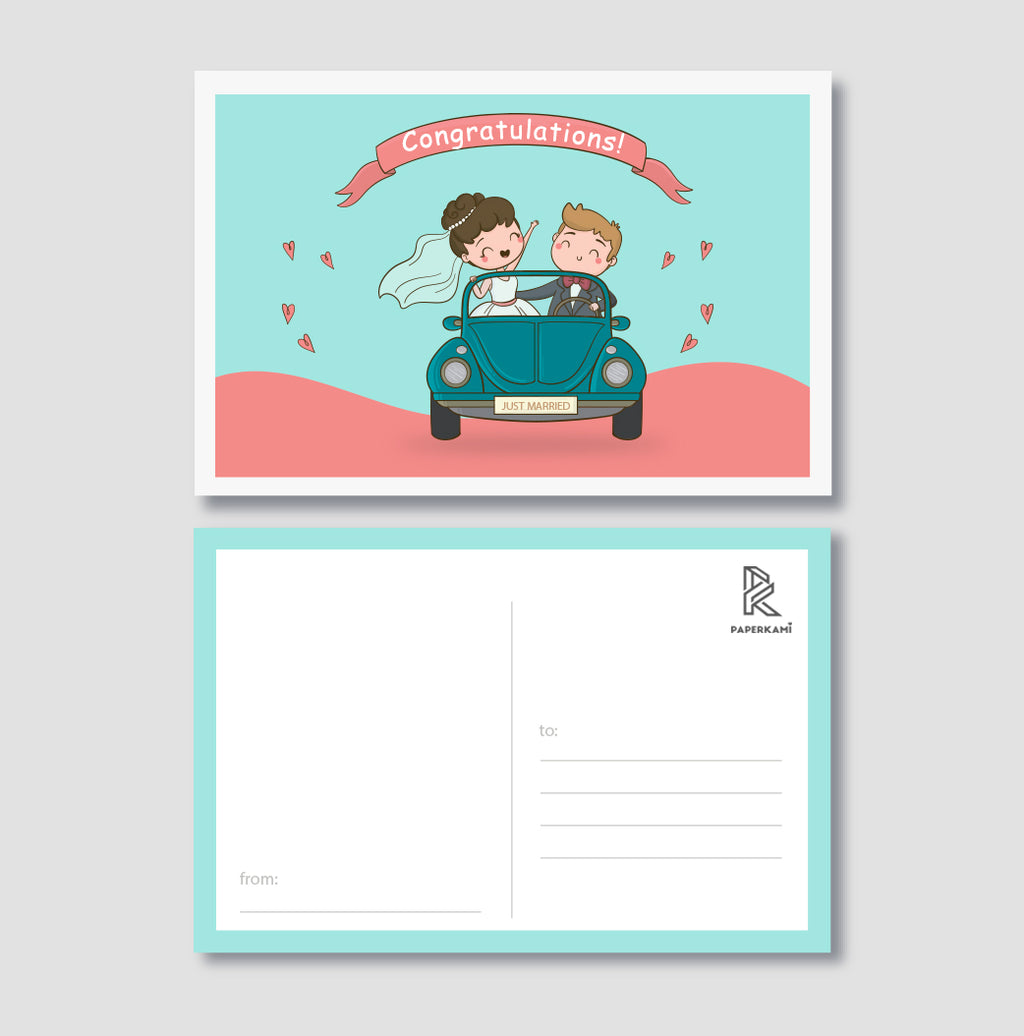 Just Married Congratulatory Post Card - Unique Gift