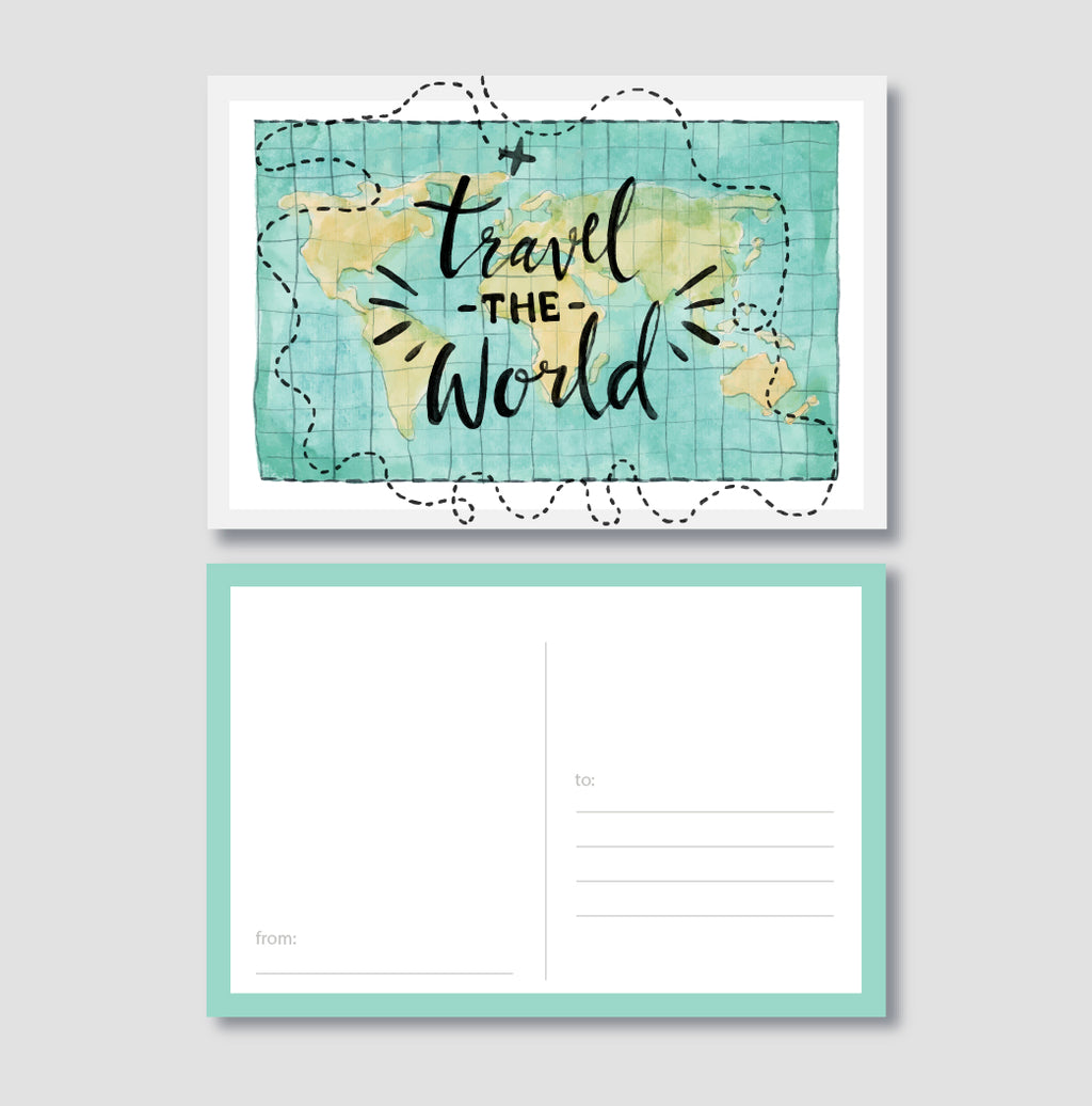 Travel The World Post Card - Unique Gift