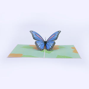 Butterfly Pop-Up Greeting Card - Blue - Unique Gift
