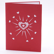 Heart Explosion Valentine's 3D Pop Up Greeting Card-Red Color