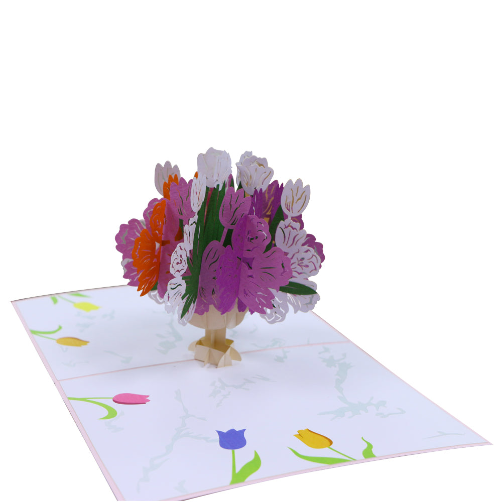 Flower Bouquet Love Greeting Card - Multicolour - Unique Gift