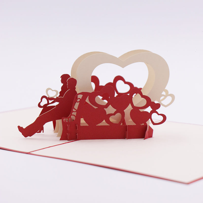 Couple on Heart Bench 3D Card - Unique Gift