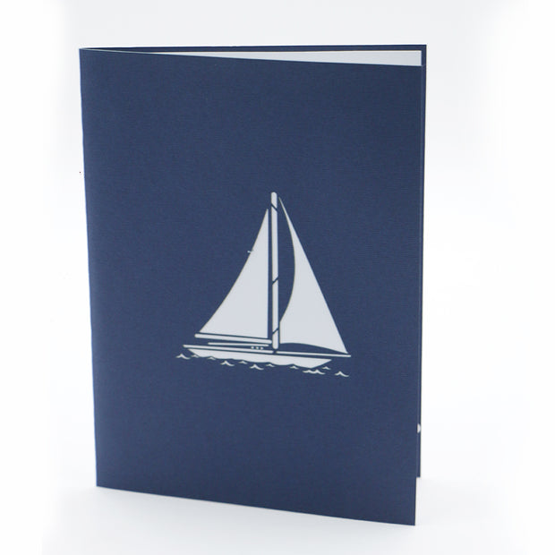 Blue Sailing Ship 3D Pop Up Greeting Card