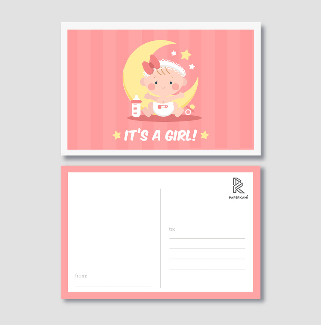 Baby Shower Girl Post Card - Unique Gift