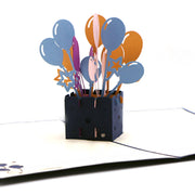 Balloons Explosion Pop Up Card - Blue - paperkami