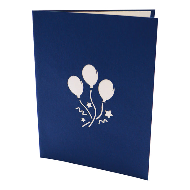 Balloons Explosion Birthday Greeting Card - Blue - paperkami