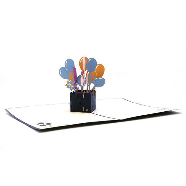 Balloons Explosion Greeting Card - Blue