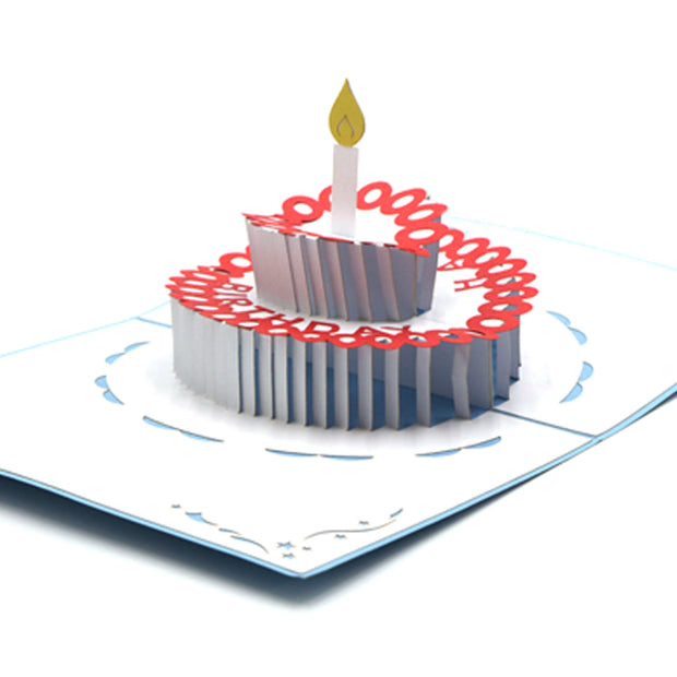 Birthday Cake Greeting Card - Blue - paperkami