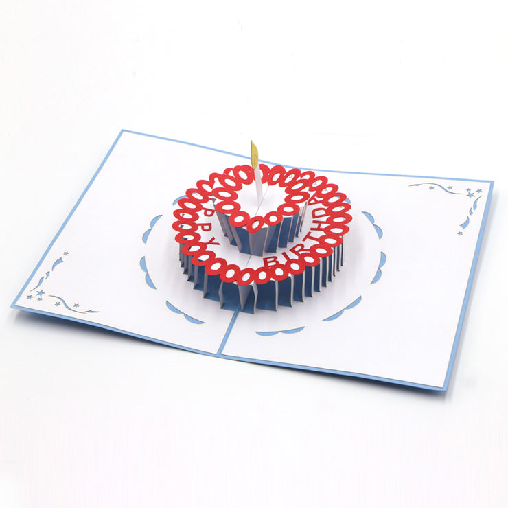 Birthday Cake Pop up Card - Blue - paperkami