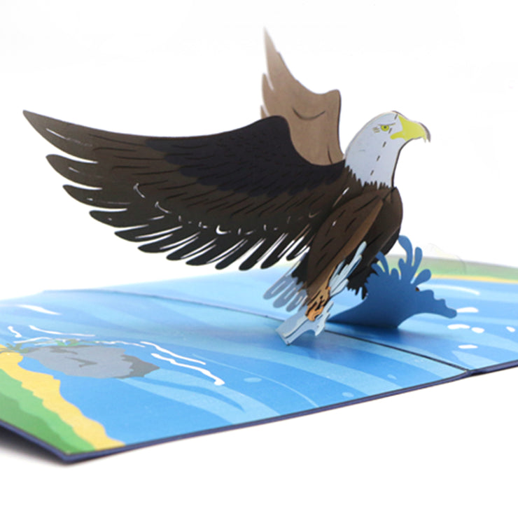 Congratulation Wishes Greeting Card, Eagle Motif - paperkami