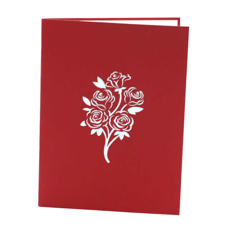 Flower Bouquet Love Greeting Card - Red - paperkami