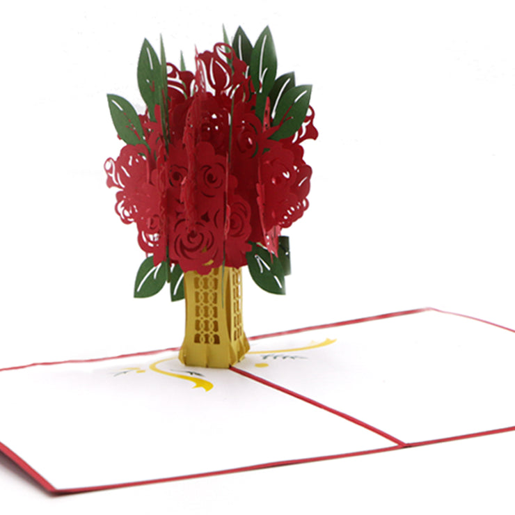 Flower Bouquet Pop Up Greeting Card - Red - paperkami