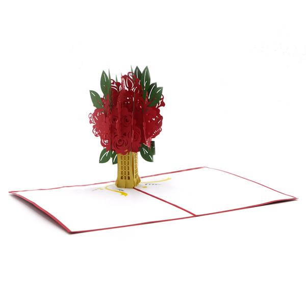 Flower Bouquet Love Greeting Card - Red