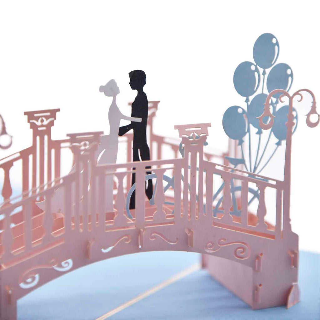 Couple Kiss on Bridge 3D Greeting Card - Unique Gift