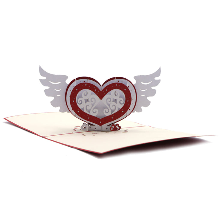 Love Greeting Card, Angelic Red Heart - paperkami