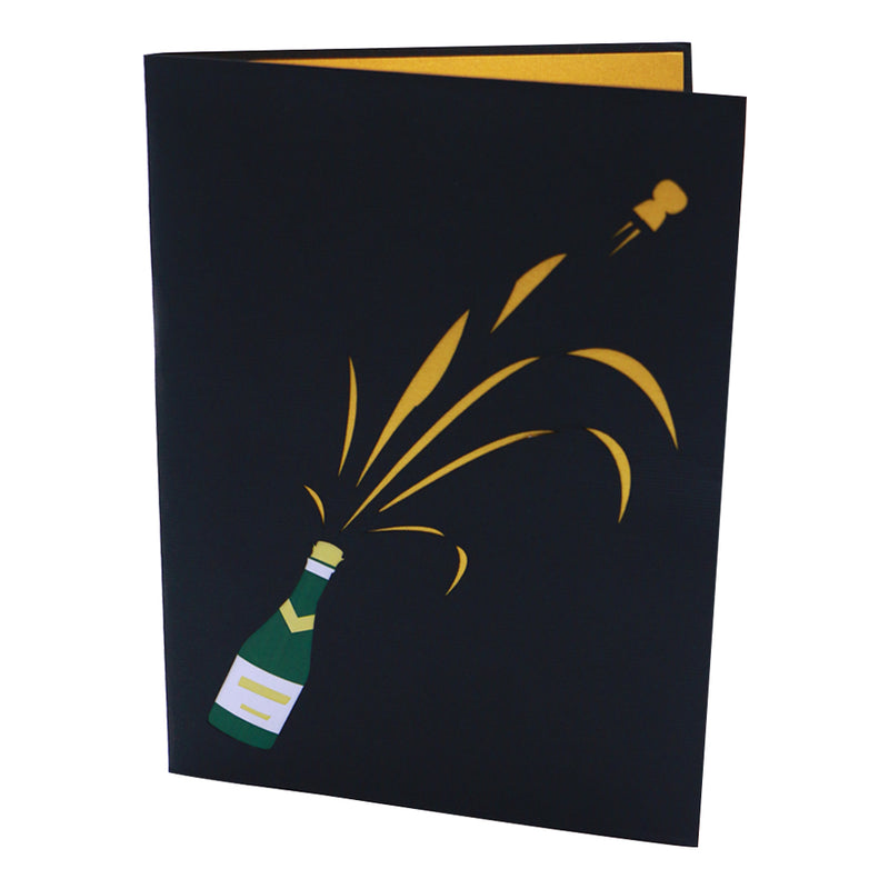 Champagne Pop Up Greeting Card for Celebration - Unique Gift