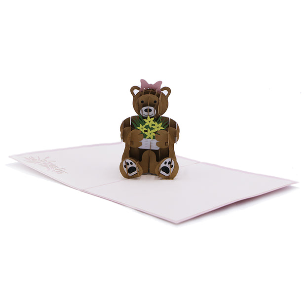 Teddy Bear Love Greeting Card - Pink - paperkami