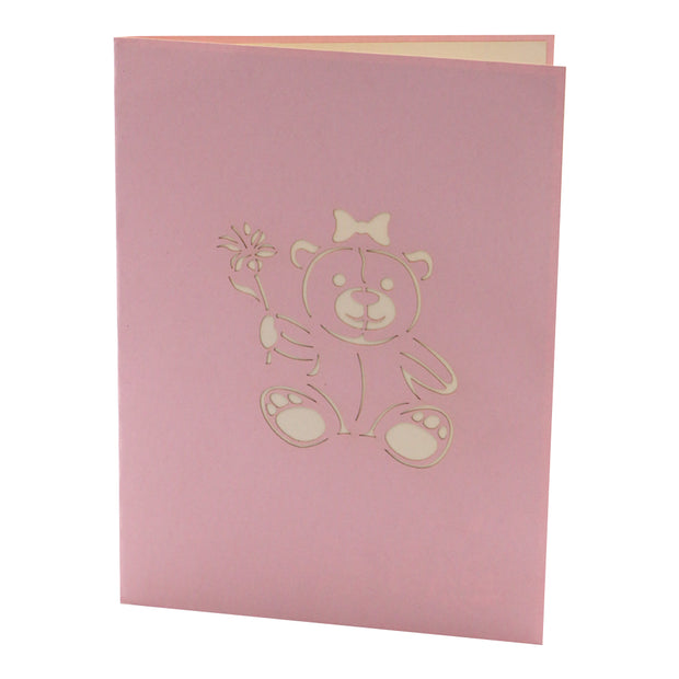Pink Teddy 3D Pop Up Greeting Card