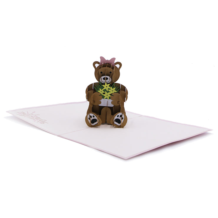 Teddy Bear Love 3D Pop Up Greeting Card -paperkami