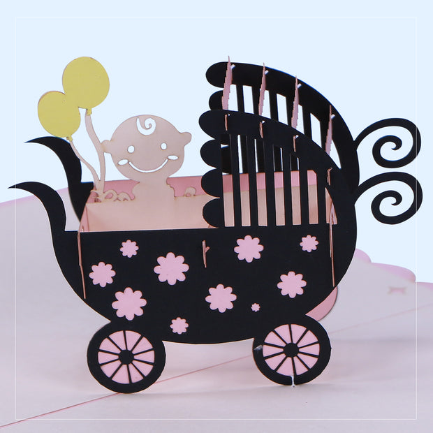 Baby Girl Carriage Greeting Card - paperkami