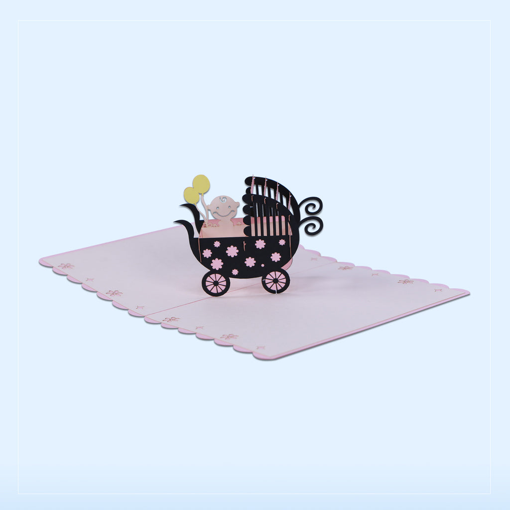 Baby Girl Carriage Pop Up Card - Unique Gift