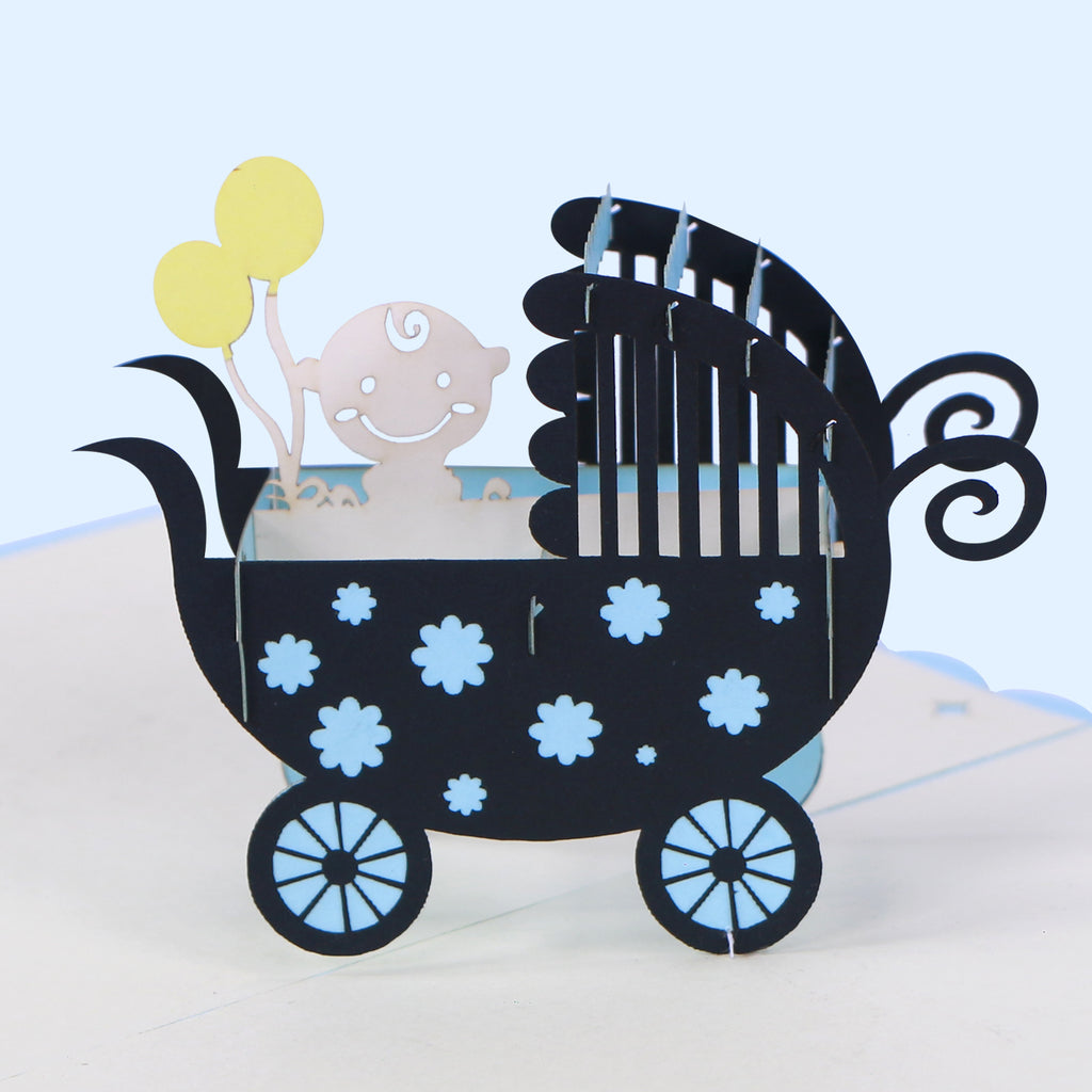 Baby Shower Boy Carriage Pop Up Card - Unique Gift