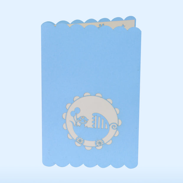 Baby Shower Pop Up blue Greeting Card - paperkami