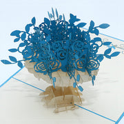 Flower Vase Pop Up Card -Blue - paperkami