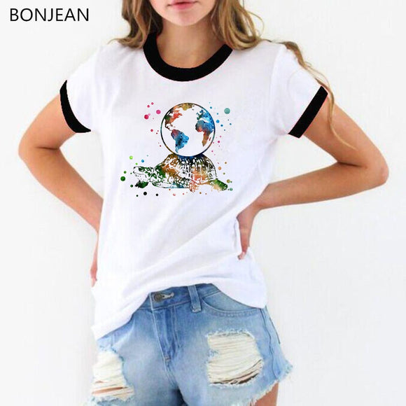 Women T shirt Turtle with earth on its back watercolor Print T-Shirt femme streetwear tshirt female tumblr